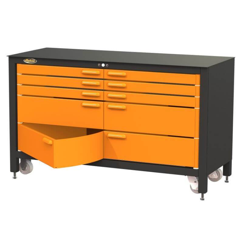 Swivel Storage Solutions MAX 60 Series 60-inch 10 Drawer Rolling Cabinet Front Right View with Bottom Drawer Opened