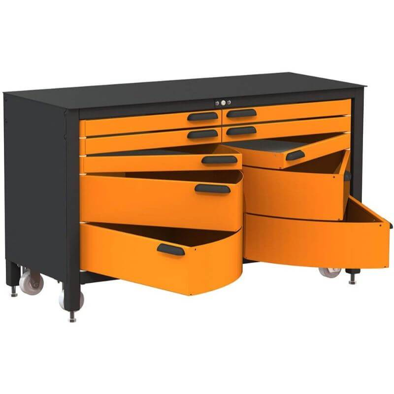 Swivel Storage Solutions MAX 60 Series 60-inch 10 Drawer Rolling Cabinet Front Left View with All the Drawers Opened