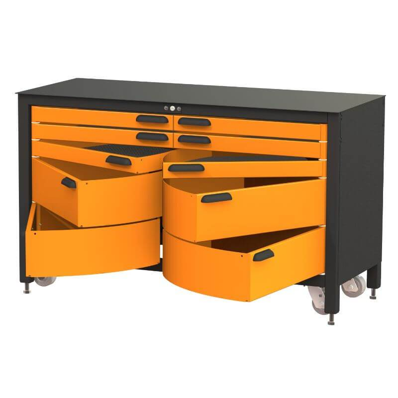 Swivel Storage Solutions MAX 60 Series 60-inch 10 Drawer Rolling Cabinet Front Right View with All the Drawers Opened