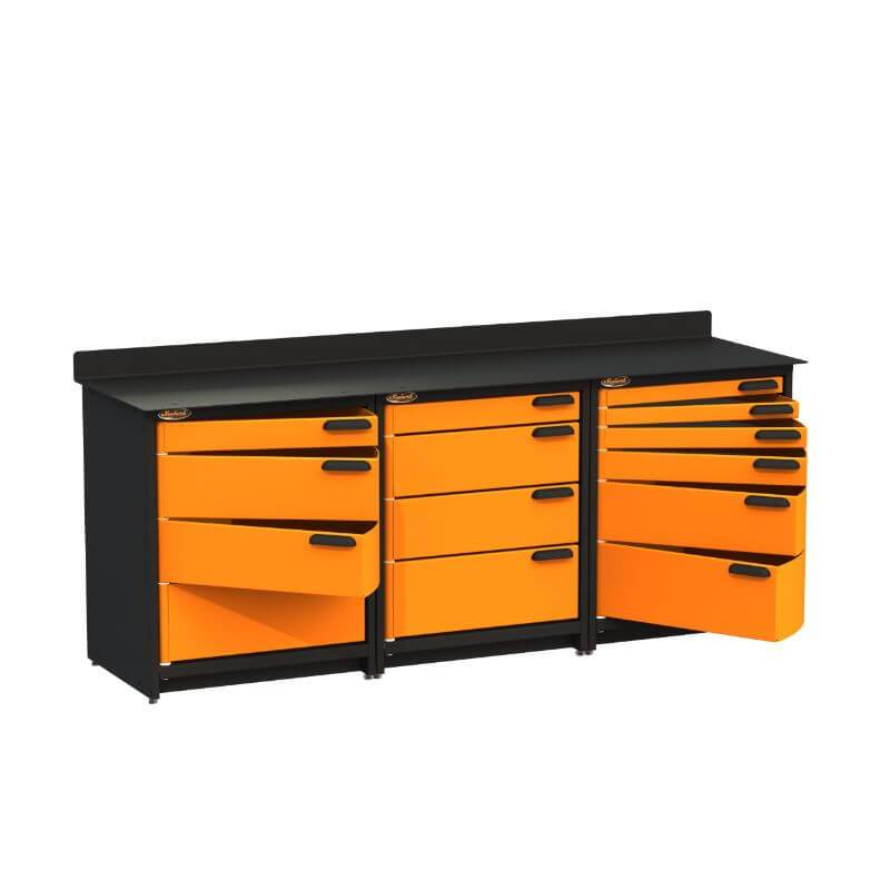 Swivel Storage Solutions PB3803614 3-Piece Combination Package from Front Left View with Drawers Opened
