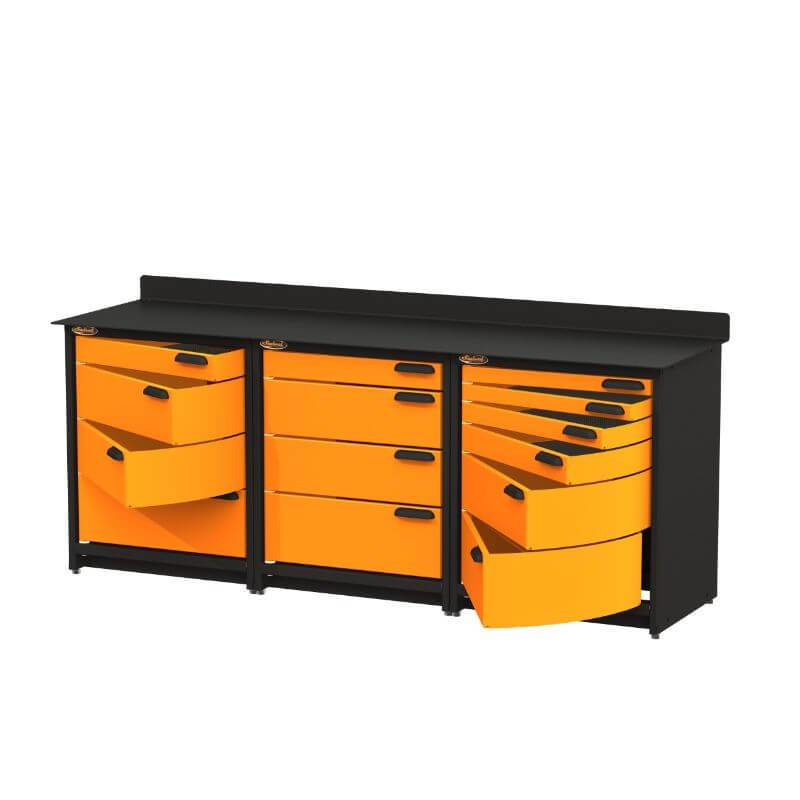 Swivel Storage Solutions PB3803614 3-Piece Combination Package from Front Right View with Drawers Opened