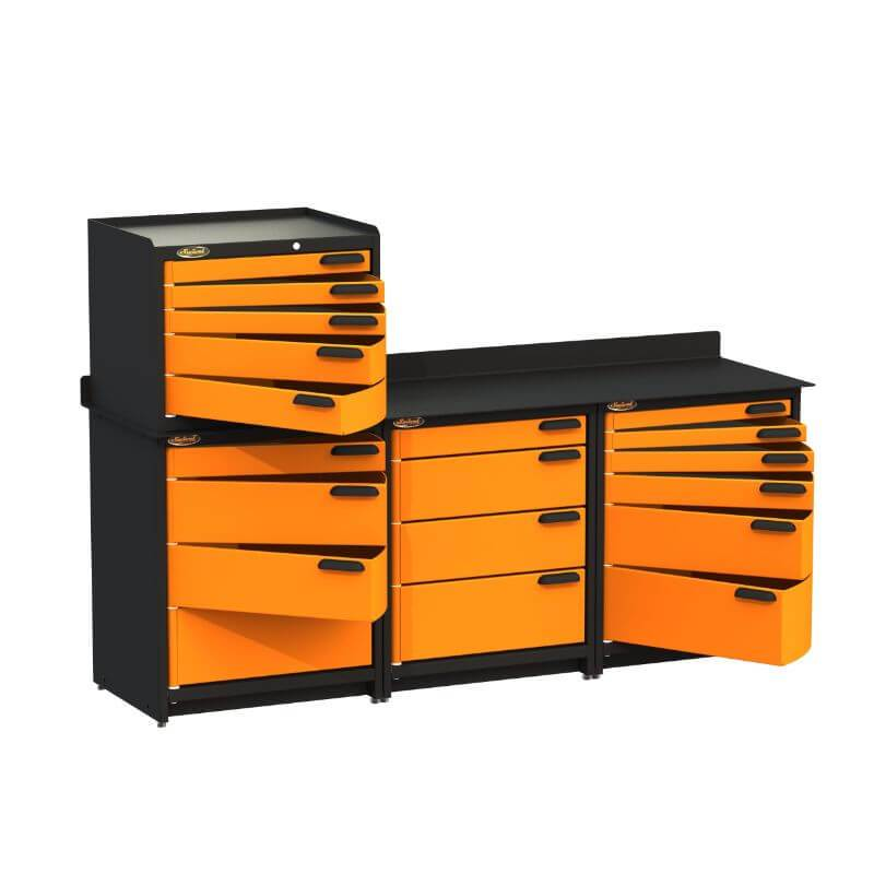 Swivel Storage Solutions PB383622 4-Piece Combination Package Front Left View with All Drawers Opened