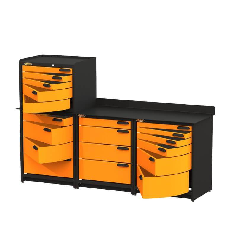 Swivel Storage Solutions PB383622 4-Piece Combination Package Front Right View with All Drawers Opened