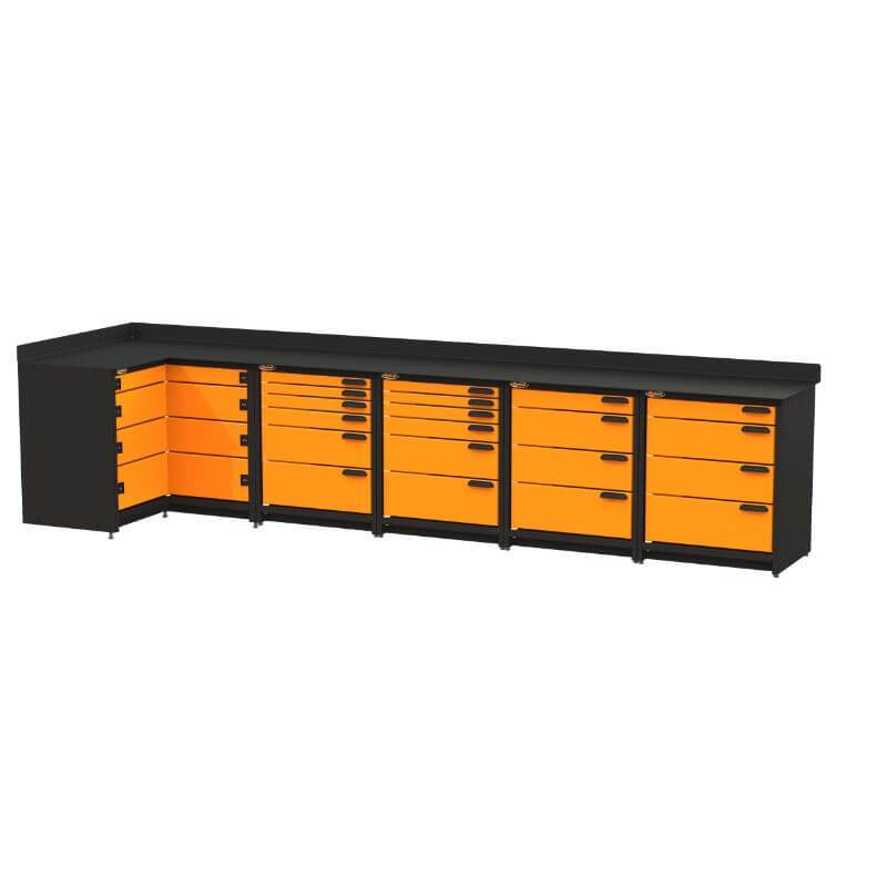 Swivel Storage Solutions PB4803620 5-Piece Combination Package (With Corner Drawers) from Front Right View with Drawers Closed