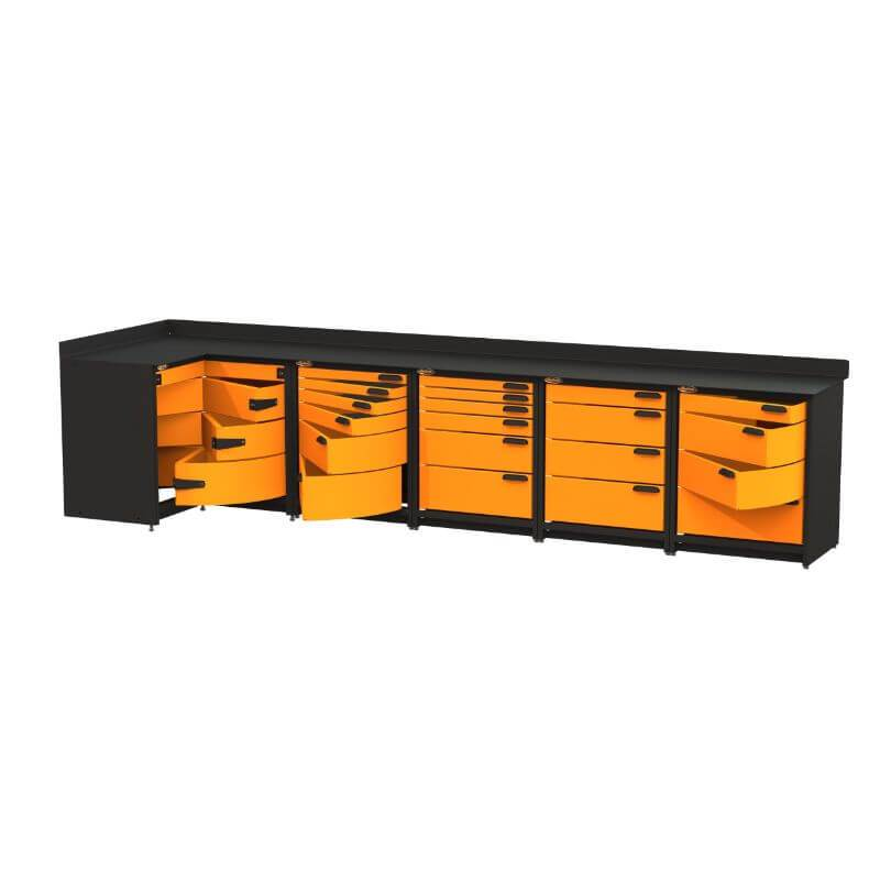 Swivel Storage Solutions PB4803620 5-Piece Combination Package (With Corner Drawers) from Front Right View with Drawers Opened