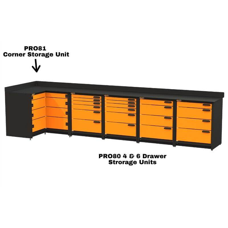 Swivel Storage Solutions PB4803620 5-Piece Combination Package (With Corner Drawers) With Each Individual Component Labeled