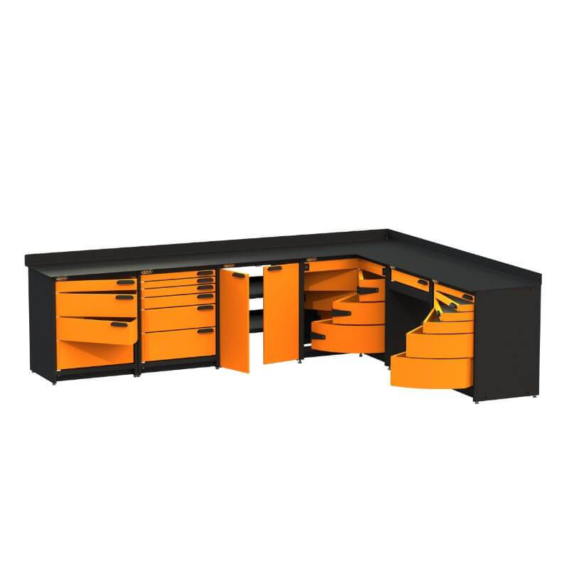 Swivel Storage Solutions PB624021 6-Piece Combination Package Front Left View with All Drawers Opened