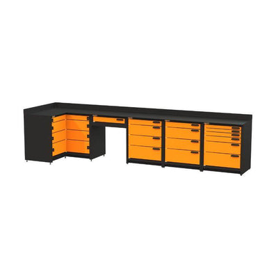 Swivel Storage Solutions PB803619 5-Piece Combination Package (With Corner Drawers + Workdesk) Front Right View with All Drawers Closed