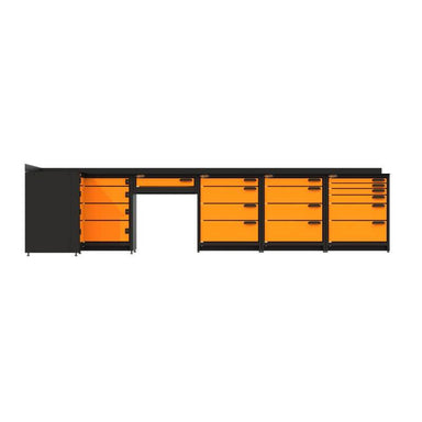 Swivel Storage Solutions PB803619 5-Piece Combination Package (With Corner Drawers + Workdesk) Directly from the Front with All Drawers Closed