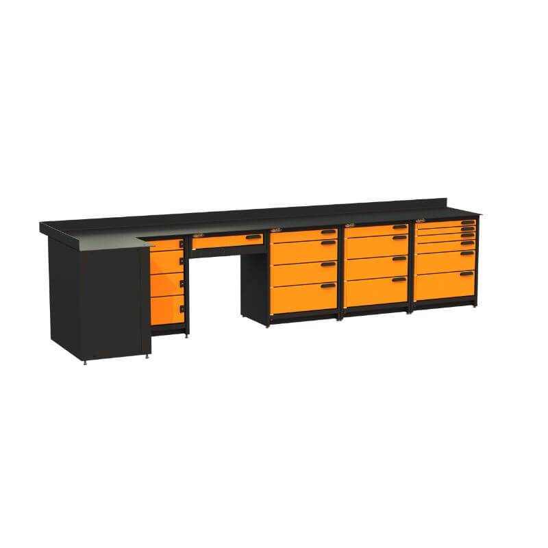 Swivel Storage Solutions PB803619 5-Piece Combination Package (With Corner Drawers + Workdesk) Front Left View with All Drawers Closed