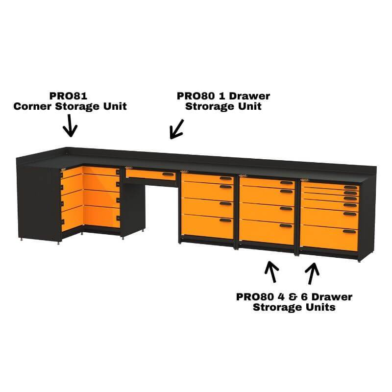 Swivel Storage Solutions PB803619 5-Piece Combination Package (With Corner Drawers + Workdesk) With Each Individual Component Labeled