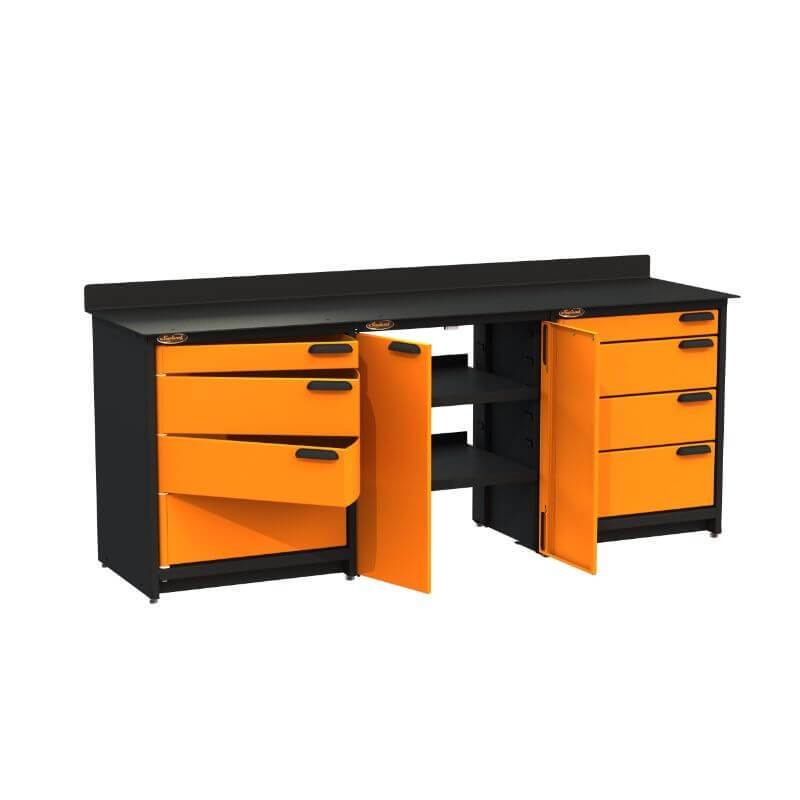 Swivel Storage Solutions PB809008 3-Piece Combination Package (With Large Cabinet) from Front Left View with Drawers Opened