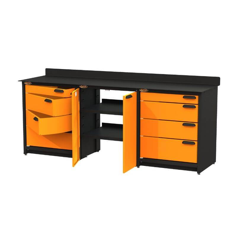 Swivel Storage Solutions PB809008 3-Piece Combination Package (With Large Cabinet) from Front Right View with Drawers Opened