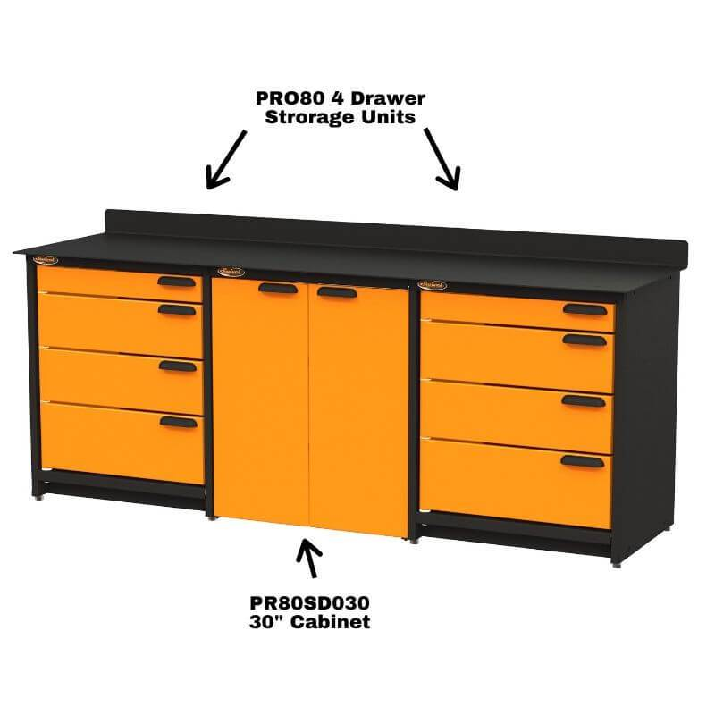 Swivel Storage Solutions PB809008 3-Piece Combination Package (With Large Cabinet) With Each Individual Component Labeled