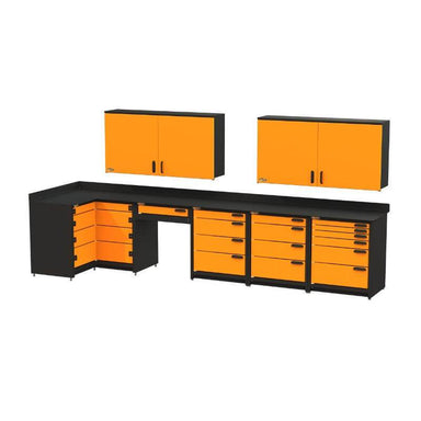 Swivel Storage Solutions PB812W19 7-Piece Combination Package Front Right View with All Drawers and Cabinets Closed