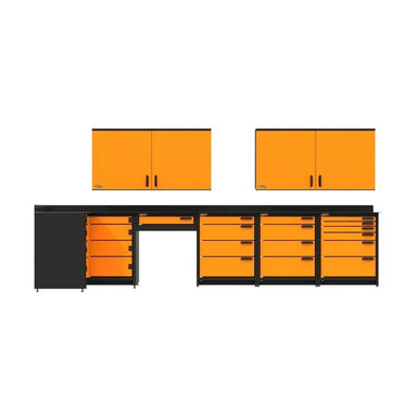 Swivel Storage Solutions PB812W19 7-Piece Combination Package View From Directly in the Front with All Drawers and Cabinets Closed