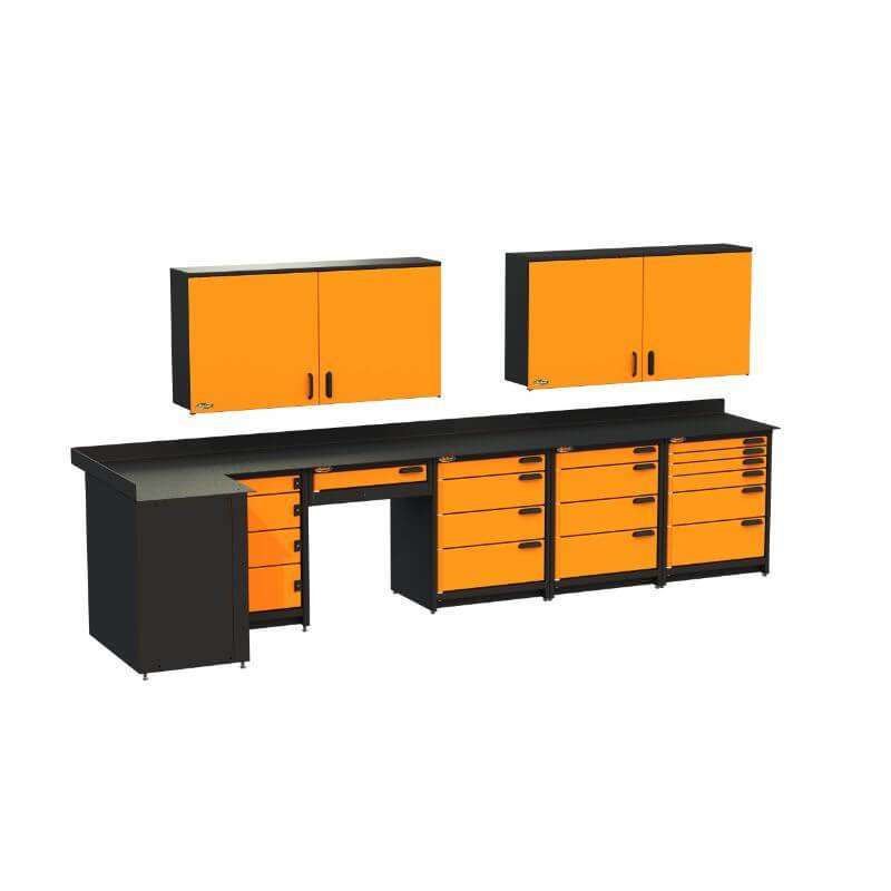 Swivel Storage Solutions PB812W19 7-Piece Combination Package Front Left View with All Drawers and Cabinets Closed