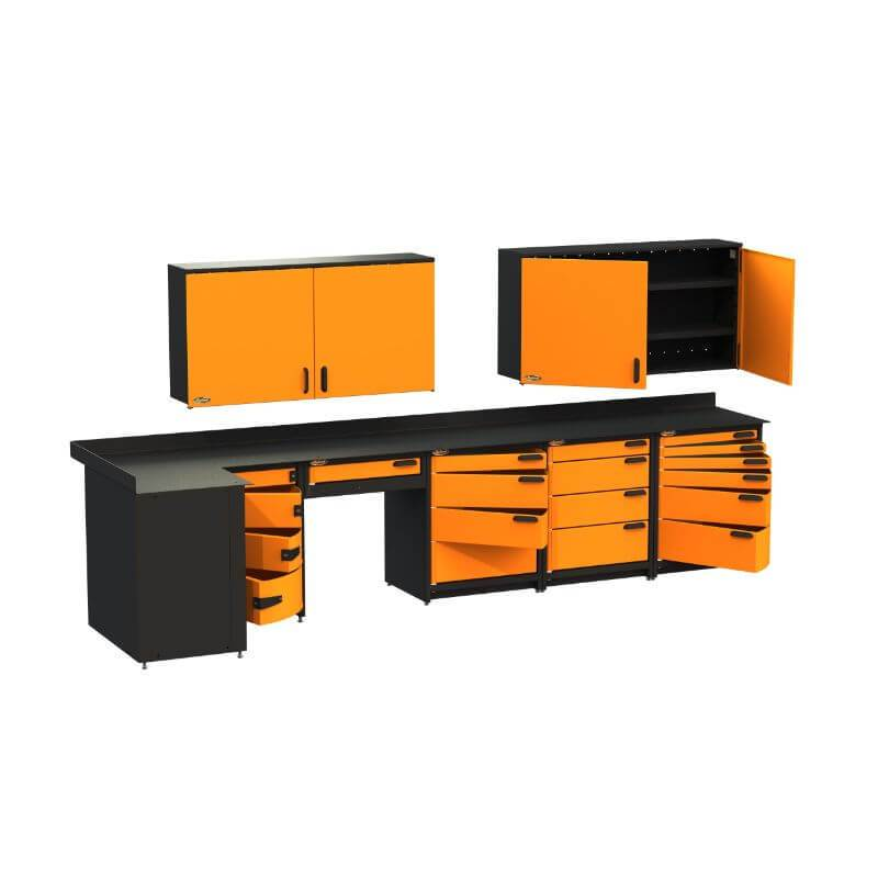 Swivel Storage Solutions PB812W19 7-Piece Combination Package Front Left View with Drawers and Cabinets Opened