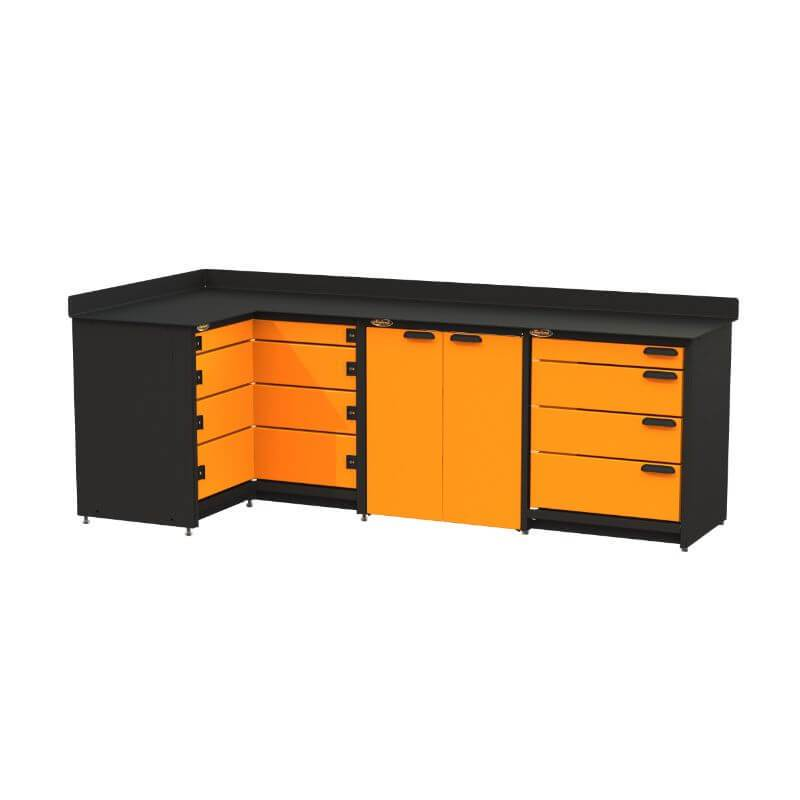 Swivel Storage Solutions PB819008 3-Piece Combination Package (With Corner Drawers) from Front Right View with Drawers Closed