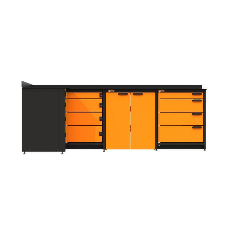 Swivel Storage Solutions PB819008 3-Piece Combination Package (With Corner Drawers) Directly From the Front with Drawers Closed