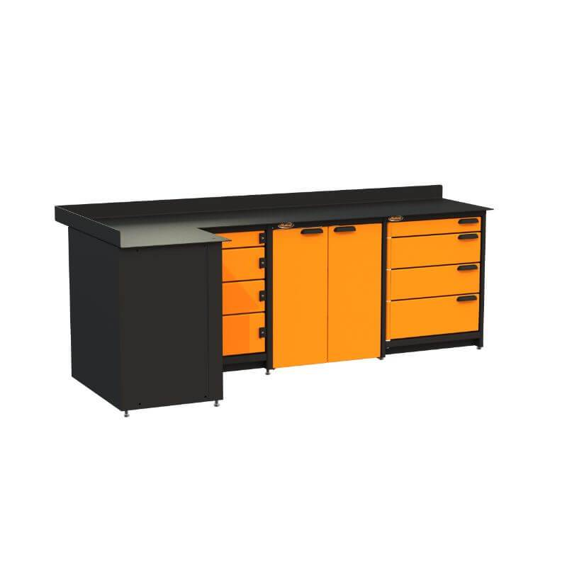Swivel Storage Solutions PB819008 3-Piece Combination Package (With Corner Drawers) from Front Left View with Drawers Closed