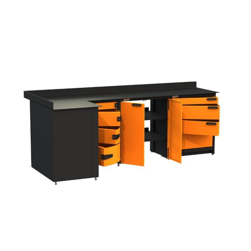 Swivel Storage Solutions PB819008 3-Piece Combination Package (With Corner Drawers) from Front Left View with Drawers Opened