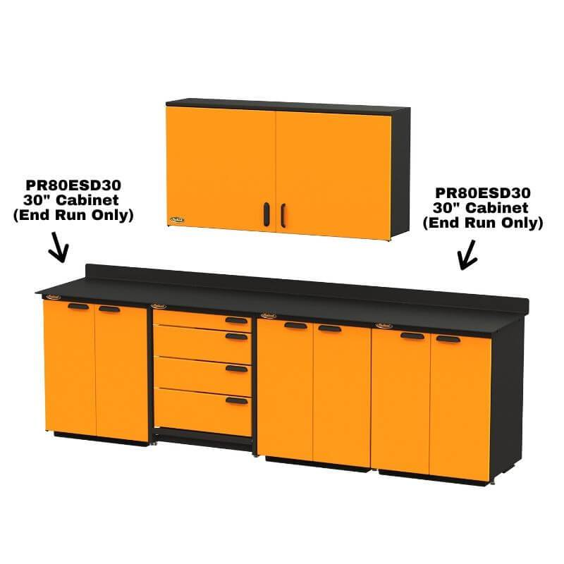 "Swivel Storage Solutions PRO 80 Modular Series 60"" Wide Cabinet with 2 Adjustable Shelves & Mounting Brackets (End Run Use Only) Shown When Installed With Other PRO 80 Units"