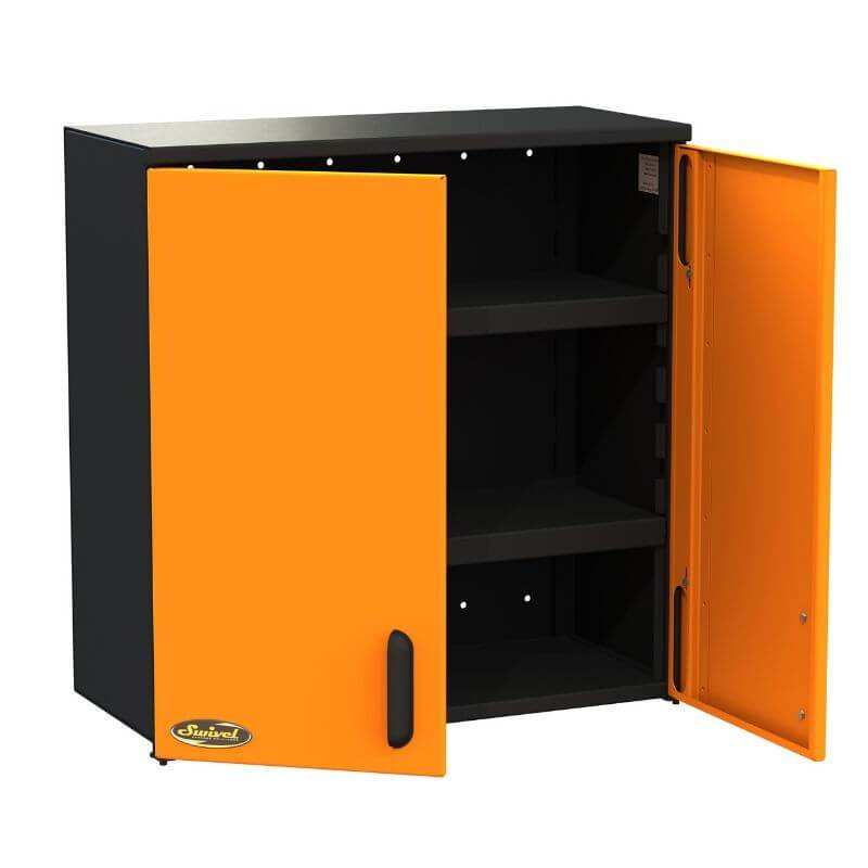 "Swivel Storage Solutions PRO 80 Modular Series 30"" Wide Wall Mounted Cabinet with 2 Adjustable Shelves Front Left View with Cabinets Opened Showing Two Shelves"