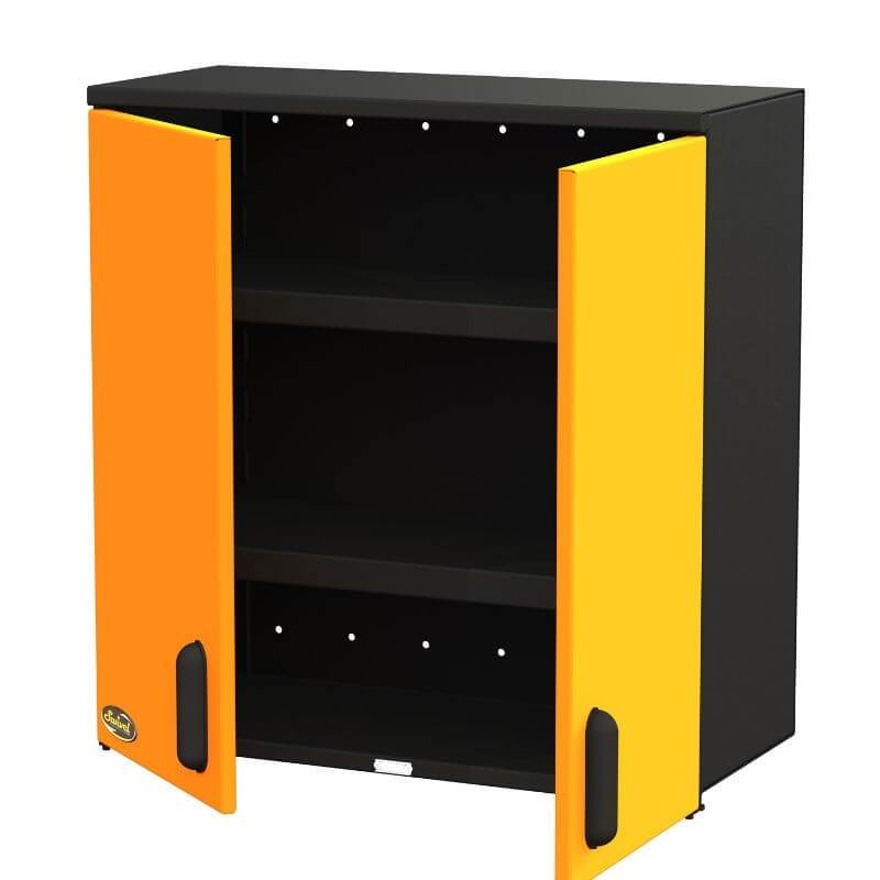 "Swivel Storage Solutions PRO 80 Modular Series 30"" Wide Wall Mounted Cabinet with 2 Adjustable Shelves Front Right View with Cabinets Opened Showing Two Shelves"