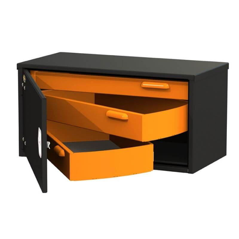 Swivel Storage Solutions PRO 18-Weathertight Underbody 3 Drawer Road Box (Truck Toolboxes) With Left Hinge Front View with Drawers Opened