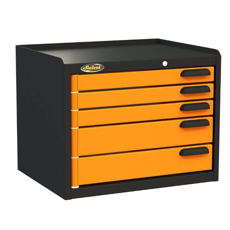 Swivel Storage Solutions PRO 22 Modular Series 5-Drawer Top Unit Benchtop Storage From the Front Left View with Drawers Closed