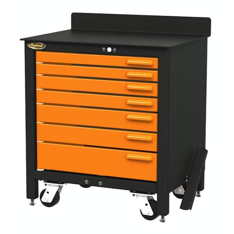 Swivel Storage Solutions PRO 30 Series 7 Drawer Rolling Workbench Front View with Drawers Closed
