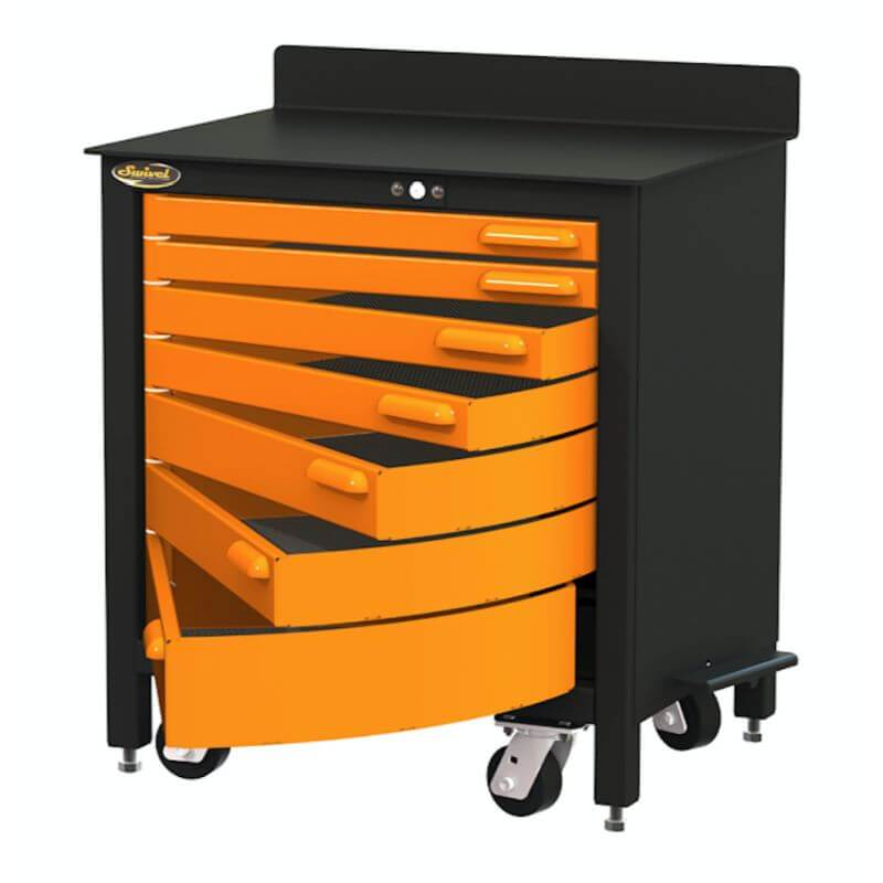 Swivel Storage Solutions PRO 30 Series 7 Drawer Rolling Workbench Top View with Drawers Opened
