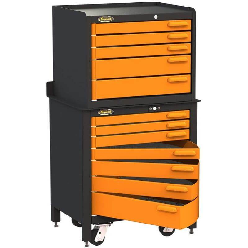 Swivel Storage Solutions PRO 30 Series 7 Drawer Rolling Workbench Paired with the Pro 22 Tool Storage Unit
