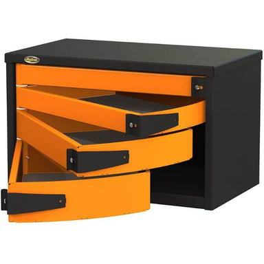 "Swivel Storage Solutions PRO 36 Series 36"" Service Body/Van Tool Box With 4 Drawers Front Right View with Drawers Opened"