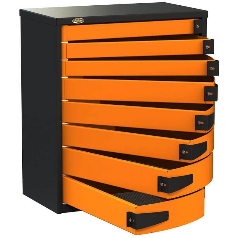 "Swivel Storage Solutions PRO 36 Series 36"" Service Body/Van Tool Box With 8 Drawers Front Right View with Drawers Opened"