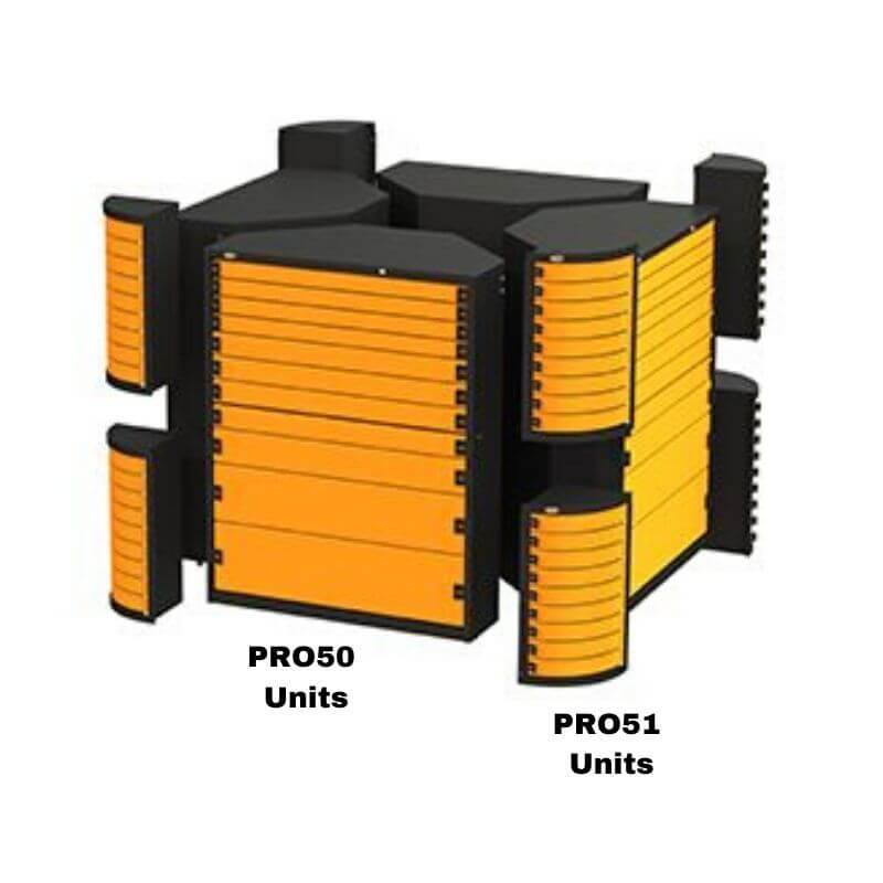 Swivel Storage Solutions PRO 50 Modular Series 11-Drawer Storage Combined with Mutiple PRO50 and PRO51 Units to Make Square Formation and Showing Individual Components With Labels