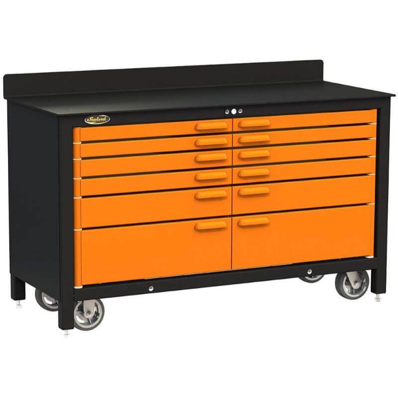 Swivel Storage Solutions PRO 60 Series 12 Drawer Rolling Workbench Front Left View with Drawers Closed