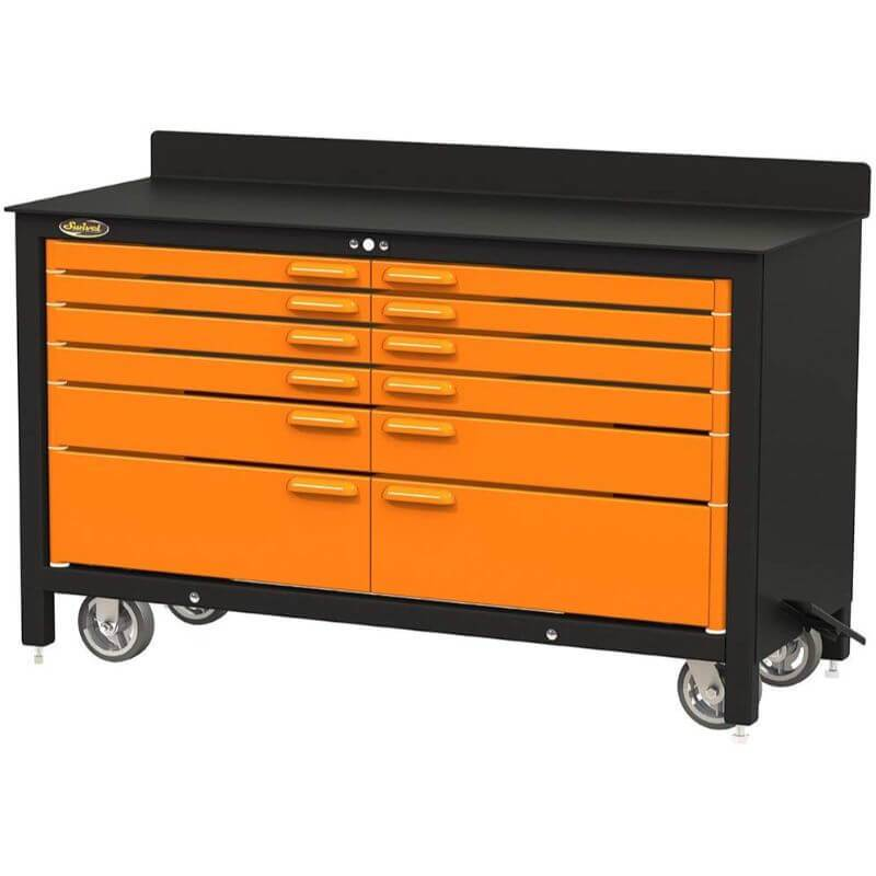 Swivel Storage Solutions PRO 60 Series 12 Drawer Rolling Workbench Front Right View with Drawers Closed