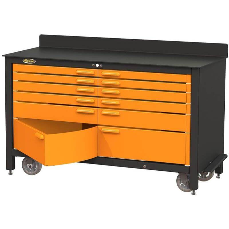 Swivel Storage Solutions PRO 60 Series 12 Drawer Rolling Workbench Front View with Bottom Drawer Opened