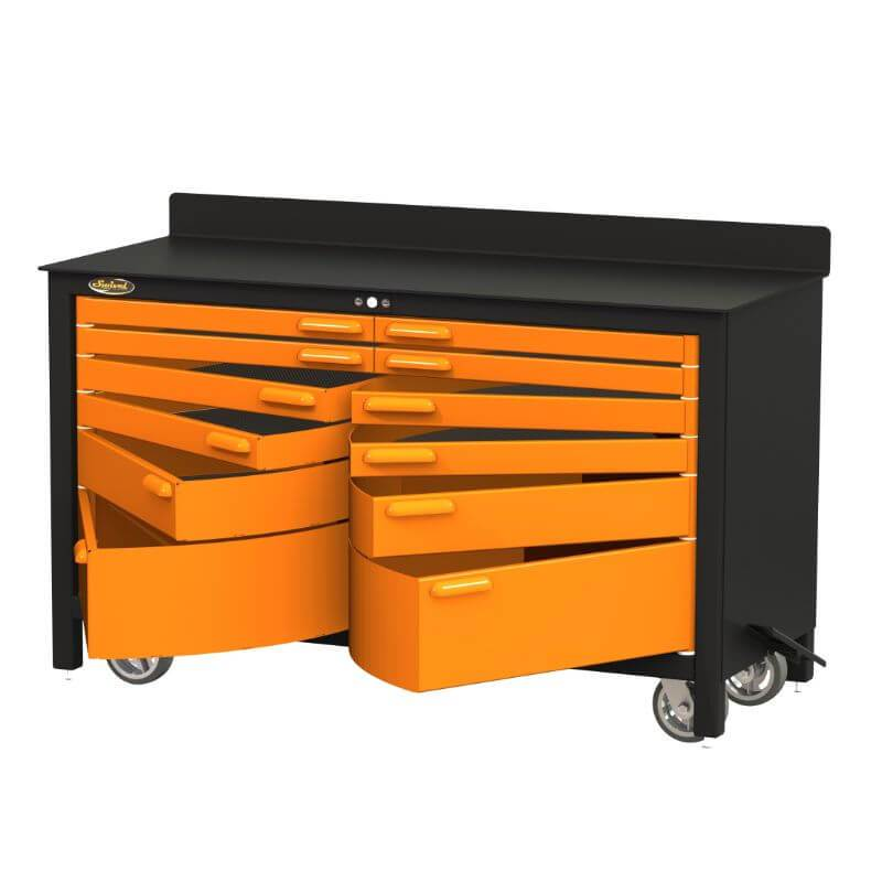 Swivel Storage Solutions PRO 60 Series 12 Drawer Rolling Workbench Front View with All the Drawers Opened