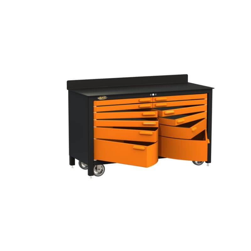 Swivel Storage Solutions PRO 60 Series 12 Drawer Rolling Workbench Front Left View with All the Drawers Opened