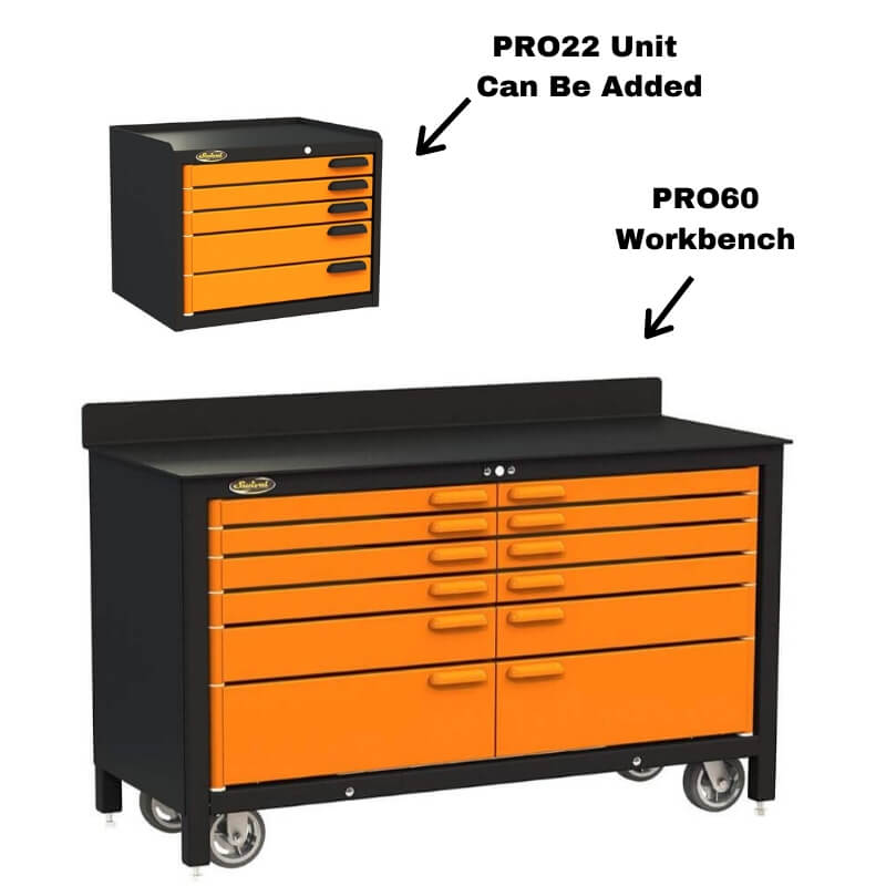 Swivel Storage Solutions PRO 60 Series 12 Drawer Rolling Workbench Paired with Pro 22 Tool Storage Unit Breakdown of Components Labeled