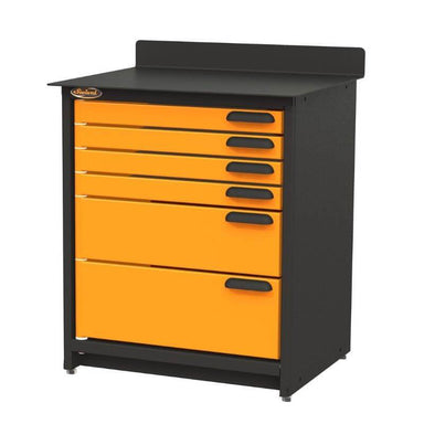 Swivel Storage Solutions PRO 80 Modular Series 6-Drawer Stationary Base Storage Unit From the Front Right View with Drawers Closed