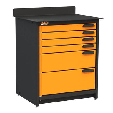 Swivel Storage Solutions PRO 80 Modular Series 6-Drawer Stationary Base Storage Unit From the Front Left View with Drawers Closed