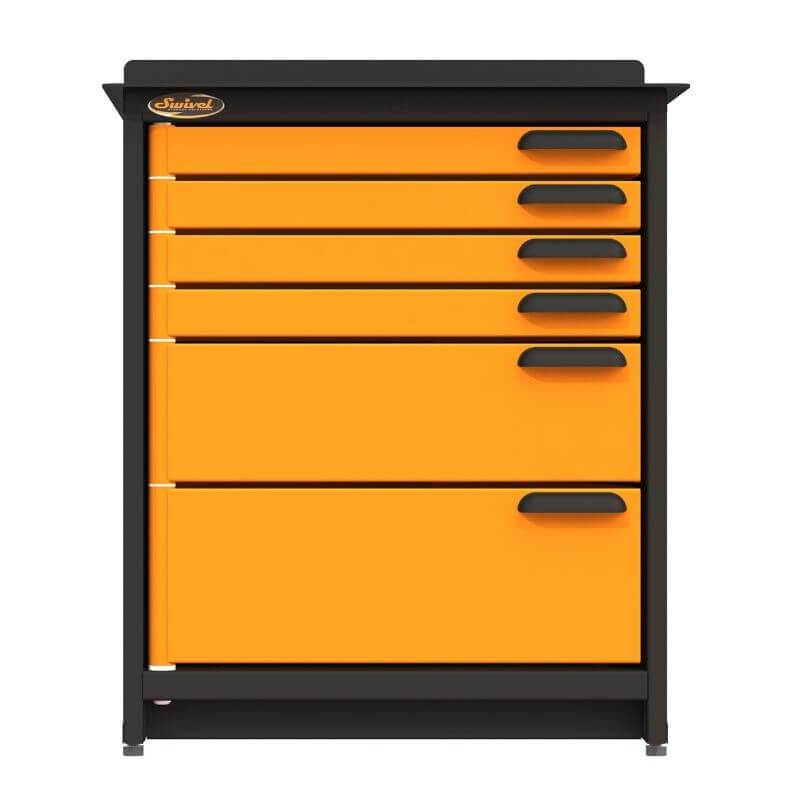 Swivel Storage Solutions PRO 80 Modular Series 6-Drawer Stationary Storage Unit Directly From the Front with Drawers Closed