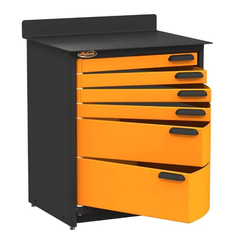 Swivel Storage Solutions PRO 80 Modular Series 6-Drawer Stationary Base Storage Unit From the Front Left View with Drawers Opened