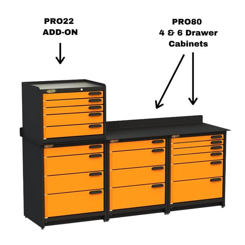 Swivel Storage Solutions PRO 80 Modular Series 6-Drawer Stationary Base Storage Unit Shown Combined with PRO22 Add-On