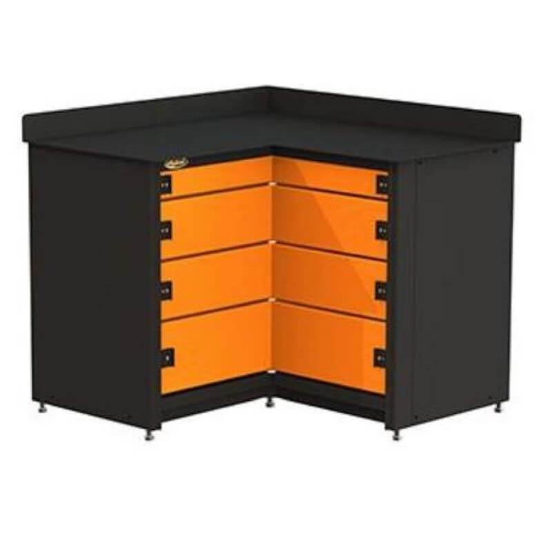 Swivel Storage Solutions PRO 81 Modular Series 4-Drawer Stationary Corner Storage Unit Directly from the Front Showing Drawer Configuration