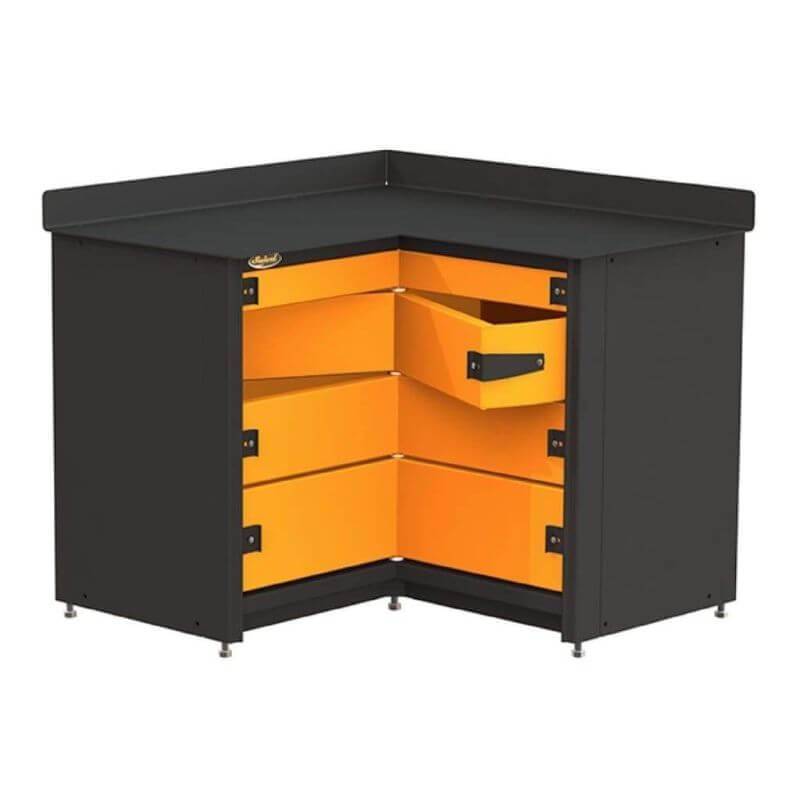 Swivel Storage Solutions PRO 81 Modular Series 4-Drawer Stationary Corner Storage Unit Directly from the Front Showing Drawer Configuration with one Drawer Opened